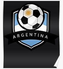 Soccer flag Argentina Poster