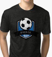 Soccer flag Greece Tri-blend T-Shirt