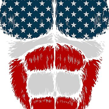 American American Flag Gorilla Muscles Fur - Stars and Stripes - Red Blue White by luibeton