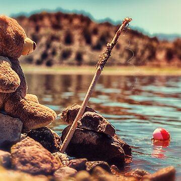 My Fishing Buddy a little teddy bear by MarniePatchett