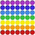 Mod Pop Circles in rainbow tones on white by dbvisualarts