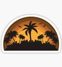 Tropical Island Sunset Retro design Sticker