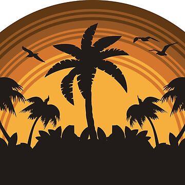 Tropical Island Sunset Retro design by VASSdesign