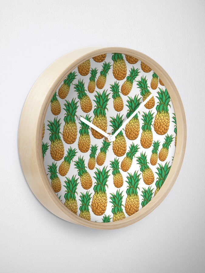 Alternate view of Tropical Pineapple Pattern With Natural White Background Clock