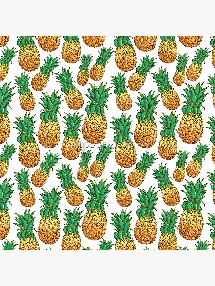 Tropical Pineapple Pattern With Natural White Background by GypseaDesigns