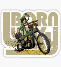 Motorcycle Shirt Born Lucky Leprechaun Sticker