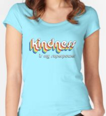 """""""Kindness is my superpower"""" retro vintage style graphic design Women's Fitted Scoop T-Shirt"""