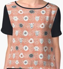 Doodle Dot Flower Peach and White Chiffon Top
