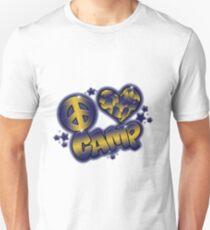 Peace, Love Camp Camo-Navy & Gold Unisex T-Shirt