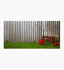 Red trike reminiscing of simpler times... Photographic Print