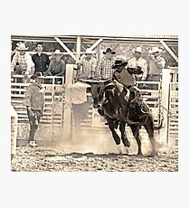 A Rodeo Cowboy Rides his Bull Photographic Print