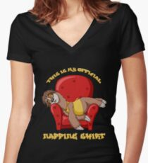 Official Napping Shirt - Lazy Sloth Women's Fitted V-Neck T-Shirt