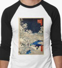 Ukiyo-e, Ando Hiroshige Yuhi Hill and the Drum Bridge at Meguro (1856- 1858) Baseball ¾ Sleeve T-Shirt