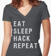 Eat Sleep Hack Repeat Cyber Security Hacking Fun T-shirt Women's Fitted V-Neck T-Shirt
