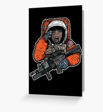 Space Force Mobile Infantry Unit Astronaut Soldier 2018 Illustration Greeting Card