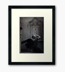 Slytherin Inspired Gothic Girl Dark Angel In Cloak Black and White  Framed Print