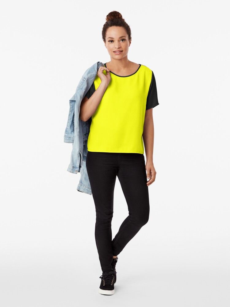 Alternate view of Neon fluorescent Yellow | Yellow|neon Yellow/Fluro Yellow Chiffon Top