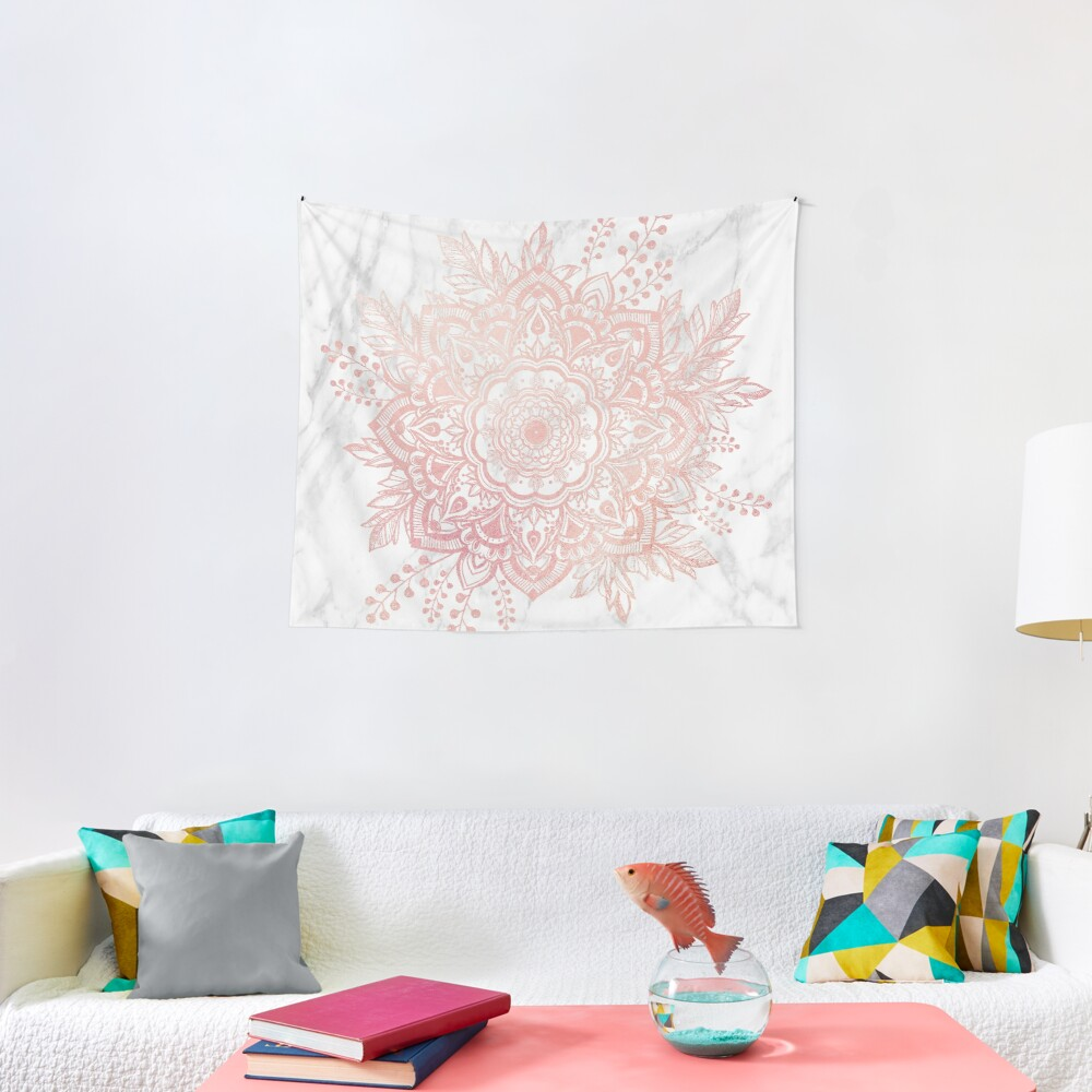 Queen Starring of Mandala-White Marble Tapestry