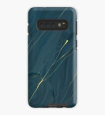 Mitternachtsblau u. Goldstreifen - Iphone u. Galaxie-Kästen Hülle & Klebefolie für Samsung Galaxy