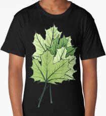 Green Maple Leaves On Vibrant Orange Long T-Shirt