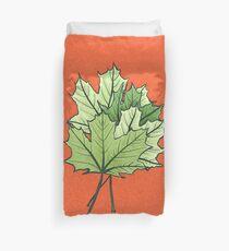 Green Maple Leaves On Vibrant Orange Duvet Cover