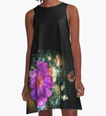 Purple Peony and Pink Roses in a Vase A-Line Dress