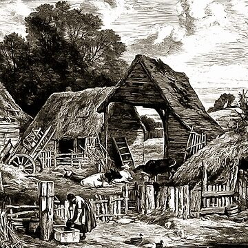 A farm-yard with sheds, a few cows, a small pond with ducks, and a water pump 19th century in the United Kingdom by ZipaC