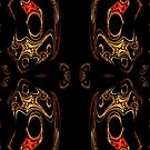 A red & gold pattern created in gimp fractal trace by Dennis Melling