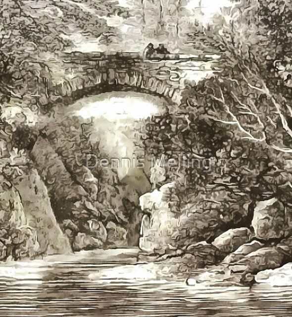 The Dramatic Stone Footbridge Over the River Braan, Scotland 1886 by Dennis Melling