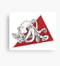 Octopus on Red Triangle Canvas Print