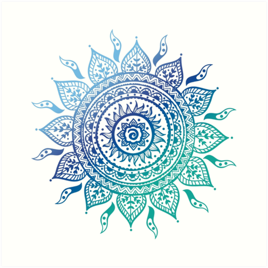 Quot Blue Gradient Mandala Quot Art Prints By Adjsr Redbubble
