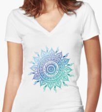 Blue Gradient Mandala  Women's Fitted V-Neck T-Shirt