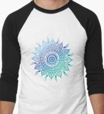 Camiseta ¾ estilo béisbol Blue Gradient Mandala