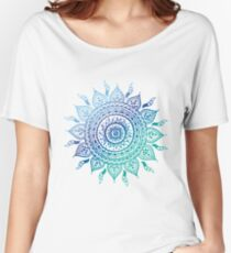 Blue Gradient Mandala  Women's Relaxed Fit T-Shirt