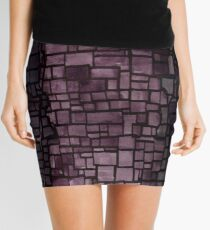 Purple graffiti print geometric pattern Mini Skirt
