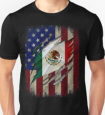 Proud Mexican American - American Flag with the Mexican Flag inside show Mexican roots Unisex T-Shirt
