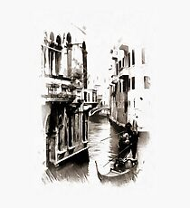 Gondoliers in Venice Black and White Photographic Print