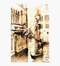 Gondoliers in Venice Vintage Look Photographic Print