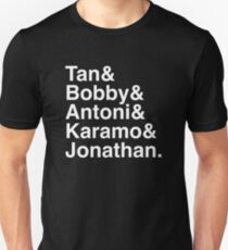 Queer Eye Tan Bobby Antoni Karamo & Jonathan (White on Black) Unisex T-Shirt