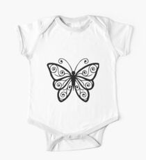Stylish Black Line Art Butterfly One Piece - Short Sleeve