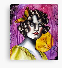 Neotraditional Tattoo Flapper Girl  Canvas Print