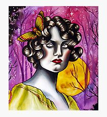 Neotraditional Tattoo Flapper Girl  Photographic Print