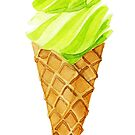 Grean tea soft ice cream watercolour by pekenyuskula