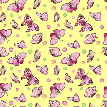 Pretty Pink Butterflies Pattern On Soft Yellow Background by ptyarb