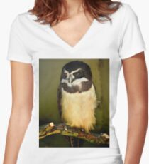 Owl, London Zoo Women's Fitted V-Neck T-Shirt