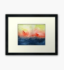 Brush Fire - Abstract Watercolor Landscape Framed Print
