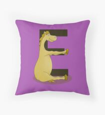 Pony Monogram Letter E Throw Pillow
