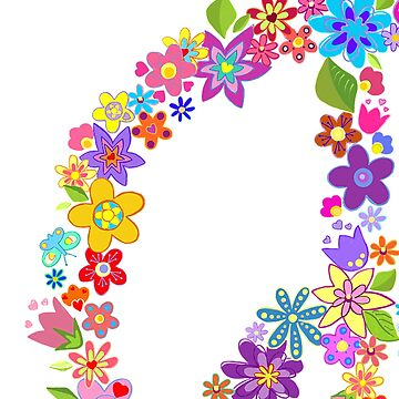 Peace Symbol Flower Power Colorful Design by Swigalicious