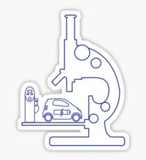 Microscope, electric car, charging station. Sticker