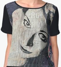 Sick On Sunday: Violet (pin up with roses graffiti portrait) Chiffon Top